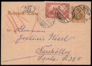 Germany 1920 Inflation Berlin Rohrpost Pneumatic Mail Cover Germania 82616