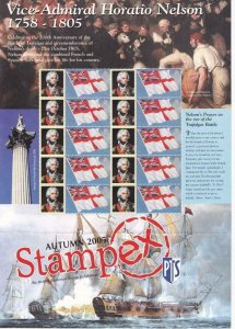 GB VICE ADMIRAL HORATIO NELSON  SMILERS SHEET STAMPEX 2005 MNH
