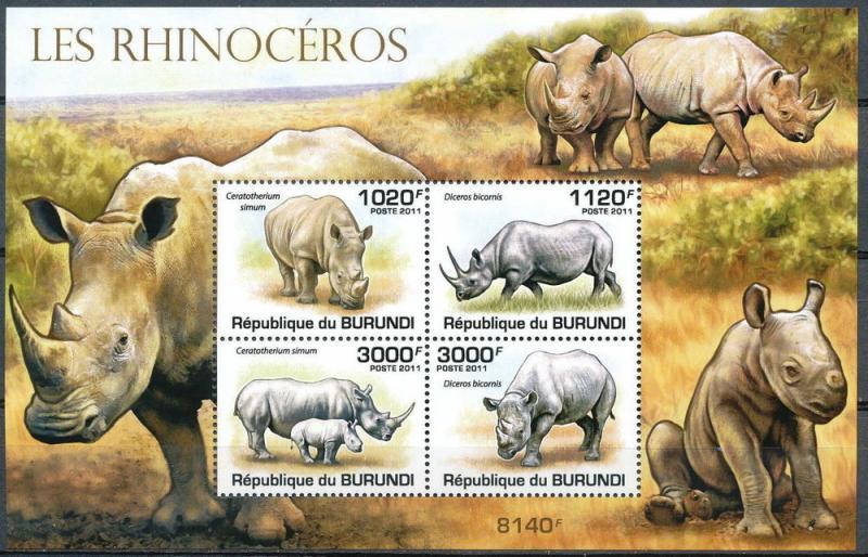 Burundi MNH S/S B168 Rhinoceroses 2011 SCV 15.00