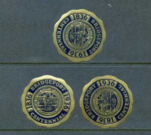 3 VINTAGE 1836-1936 BRIDGEPORT CT CENTENNIAL POSTER STAMPS (L486) CONNECTICUT