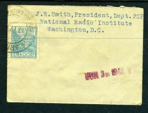 1942 Small Envelope to National Radio Institute
