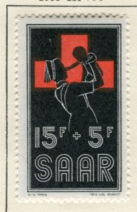SAARLAND; 1955 early Red Cross Fund issue fine Mint hinged 15f. value