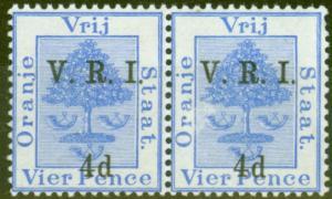 Orange Free State 1900 4d on 4d Ultramarine SG107 V.F LMM Pair MNH on L.H Stamp