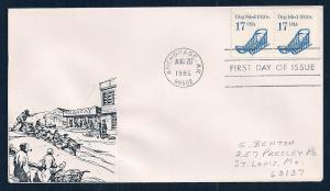 UNITED STATES FDC 17¢ Dog Sled PNC #2 1986 Cacheted