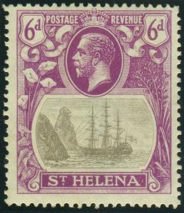 ST HELENA-1922-37  6d Grey & Bright Purple CLEFT ROCK lightly mounted  Sg 104c