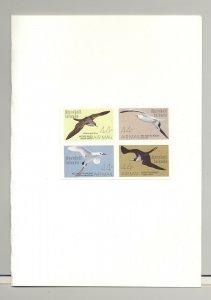Marshall Islands #C16a Birds 1v Block of 4 Imperf Proofs in Folder