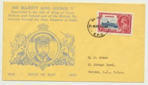 BARBADOS 1935 1d ON SILVER JUBILEE FIRST DAY COVER, ILLUSTRATED TO US(SEE BELOW