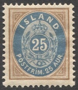 ICELAND 1900  Sc 29  25a Perf. 13 MH  VF
