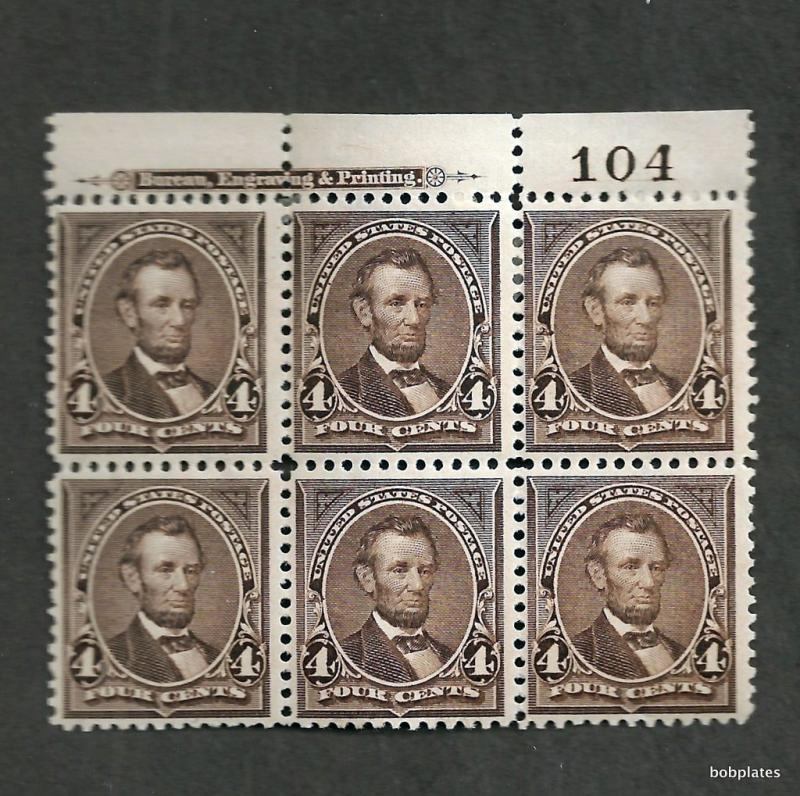 BOBPLATES US #269 Lincoln Top Plate Block Bia Imprint 104 XF HR SCV= $775