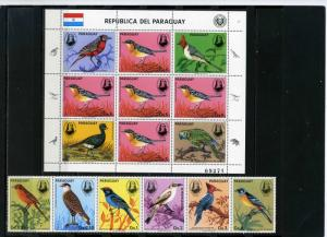 PARAGUAY 1985 Sc#2141-2142 BIRDS STRIP OF 6 STAMPS & SHEET OF 5 STAMPS MNH