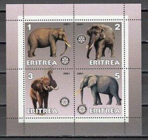 Eritrea, 2001 Cinderella issue. Elephants on a sheet of 4. *