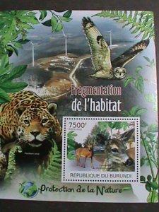 Burundi MNH S/S Nature Protection Panther Owl Deer 2012