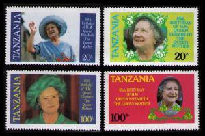 Tanzania MNH 267-70 Queen Mother 85th Birthday 1985