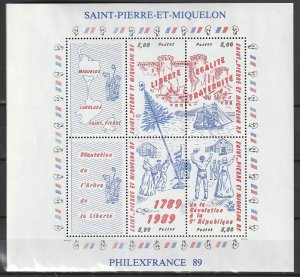 1989 St. Pierre and Miquelon - Sc 517 - MNH VF - 1 MS - French Revolution