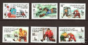 Mauritania Sc 440-445 MNH. 1980 Winter Olympics Ovpts cplt, Ice Hockey