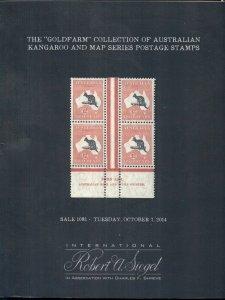 GOLDFARM AUSTRALIAN KANGAROO & MAP SERIES CATALOG, 2014 SIEGEL AUCTION