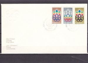 Canada, Scott cat. B1-B3. Montreal Olympics issue. First day cover. ^