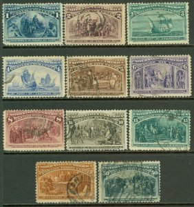 EDW1949SELL : USA 1893 Scott #230-40 Used. Light cancels. Minor faults. Cat $410