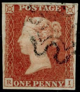 SG8, 1d red-brown PLATE 24, FINE USED. Cat £60. BLACK MX. 4 MARGINS. RI