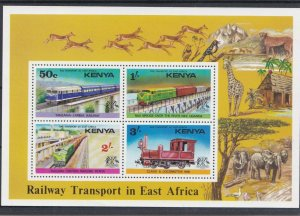 KENYA 1976 RAILWAY TRANSPORT IN AFRICA  MINI SHEET  MNH