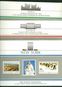 UNITED NATIONS 1984 YEARSETS w/souvenir folder, NY, Geneva & Vienna