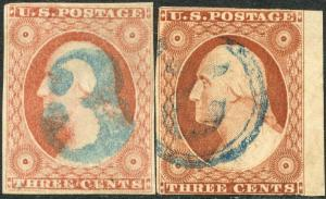 #11 USED (2) DIFFERENT 3 & 5 NUMERAL CANCELS IN BLUE BP1949