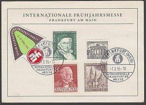 GERMANY 1955 Frankfurt International postcard - nice franking to Australia..B338