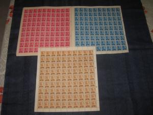 Nepal 3 Diff. King Mahendra Full Sheet of 90 Stamps O/P Kajsarkari MNH # 10931