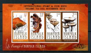 Norfolk Island 2010 MNH Fungi Beijing Stamp & Coin Expo 4v M/S Mushrooms Stamps