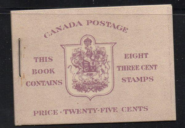 Canada Sc 252a 1943 cpl booklet USC#35d mint NH
