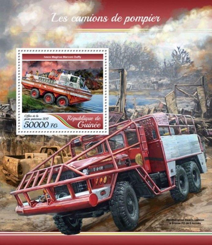 Guinea - 2017 Fire Engines - Stamp Souvenir Sheet - GU17424b