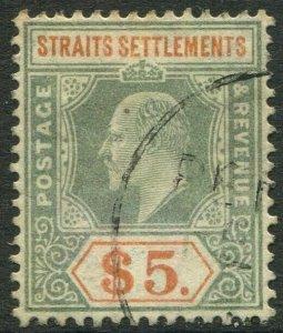 STRAITS SETTLEMENTS-1905 $5 Dull Green & Brown-Orange Sg 138 faded AU V50192