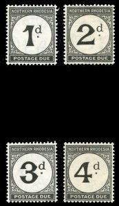 Northern Rhodesia 1929 KGV Postage Due set complete MLH. SG D1-D4. Sc J1-J4.