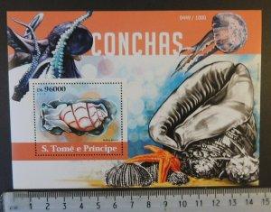 St Thomas 2015 shells marine life s/sheet mnh