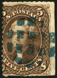 #76 10c Brown 1863 Misperf Error? Used Rare Greenish Cxl