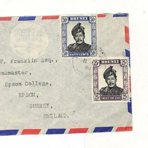 Commonwealth Covers 1961 BRUNEI Commercial Airmail Cover Epsom College AD51