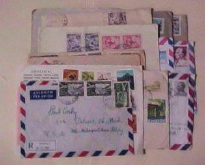 YUGOSLAVIA 16 REGISTERED SMALL COVERS  TO FOREIGN DESTINATION ,10 TO USA