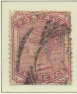 Great Britain Stamp Scott #81, Used, Perfins, Faults - Free U.S. Shipping, Fr...