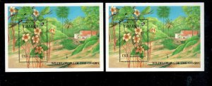 GAMBIA #691-691A  1987   WILDFLOWERS  MINT VF NH  O.G  S/S