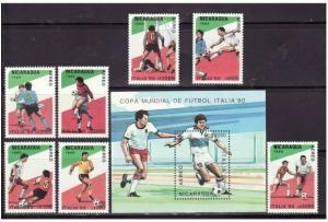 Nicaragua - World Cup Soccer 7 Stamp Set & S/S C1162-9