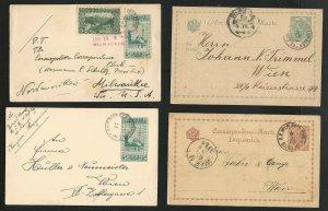 Bosnia Herzegovina, Lot of 4 Postal History / Postal Cards, Used 1888-1908