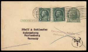 USA 1925 Upfranked Postal Card to Germany Transatlantic Not Interested 87673