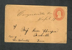 Tennessee Postal Stationery Cover Conyersville M/S DPO 4 Sept 11