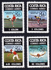 Costa Rica XXII Olympic Games Moscow 4v SG#1172-1175 SC#C782-C785