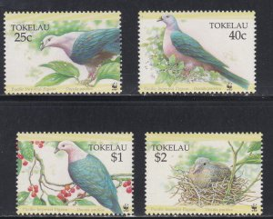 Tokelau # 204-207, WWF - Pacific Imperial Pigeon, NH, 1/2 Cat.