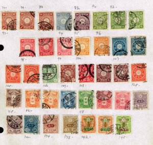 JAPAN STAMP USED STAMPS ON PAGE COLLECTION LOT  #1