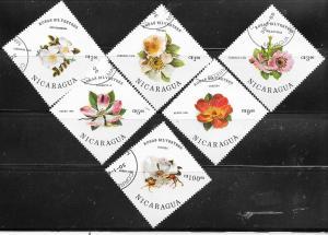 Nicaragua #1494-1499   Flowers complete set  (U) CV$2.35