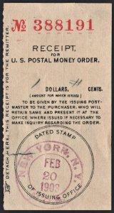 Postal Money Order Receipt: Date Stamped FEB 20, 1903