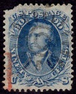 US Stamp #72 USED 90c Blue Washington SCV $600.