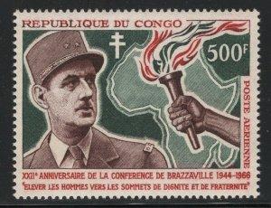 Congo, PR 1966 500F Charles de Gaulle Sc# C36 mint